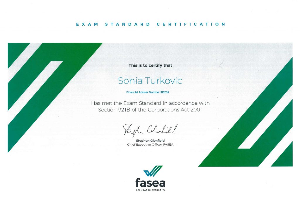 Financial Stability - FASEA Exam Certificate